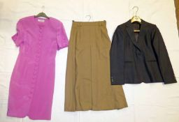 JAEGER PURE WOOL CAMEL SKIRT SIZE 8, 100% SILK FUSCHIA BUTTON DOWN JAEGER DRESS SIZE 8,