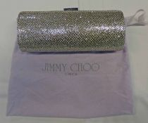 NEW JIMMY CHOO LARGE TUBE SILVER GLITTER CLUTCH BAG WITH PHOTOCOPY OF ORIGINAL RECEIPT