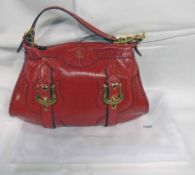 FENDI DARK RED 2008 PYTHON HANDBAG WITH SATIN GOLD DETAILING WITH DUST BAG