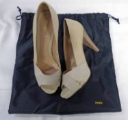 NEW FENDI CREAM CANVAS COURT SHOES WITH PYTHON PEEP-TOE DETAIL SIZE 36 WITH ORIGINAL RECEIPT