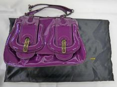 NEW FENDI 2000'S PATENT PURPLE B-BAG WITH SUEDE INTERIORS WITH ORIGINAL RECEIPT