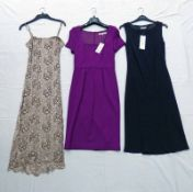 PINK BEADED PHASE EIGHT DRESS WITH REMOVABLE STRAPS SIZE 8, NAVY PRECIS PETITE DRESS SIZE 10,