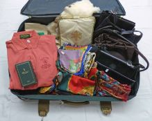 SUITCASE WITH A SELECTION OF HANDBAGS, SCARVES, FUR,