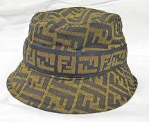 FENDI BROWN ZUCCHINO BUCKET HAT SIZE SMALL WITH ORIGINAL RECEIPT