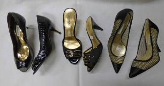 DUNE BLACK KAVA-POINT MESH SATIN COURT SHOE SIZE 36 + COACH BLACK HEELED MULES SIZE 6B & DUNE BLACK
