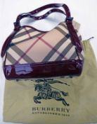 NEW LARGE BURBERRY LEATHER SUPERNOVA CHECK BERRY RED SHOULDER BAG