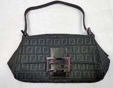 FENDI BLACK ZUCCHINO CANVAS MINI MAMMA BAGUETTE TOTE BAG
