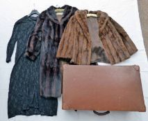 BROWN TRUNK WITH LONG BLACK DRESS, JONES FUR SERVICE SHORT BROWN FUR COAT & D.