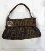 NEW FENDI BROWN ZUCCA CHEF SHOULDER BAG