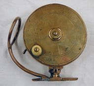 4 1/2 INCH BRASS MALLOCHS SIDE CASTING REEL WITH 'MALLOCHS PATENT' STAMPED TO SIDE