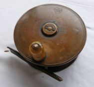 GOW & SONS 4 1/4 INCH BRASS PLATE WIND REEL WITH HORN HANDLE