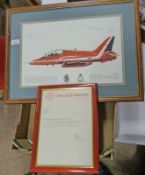 PRINT OF HAWK TIA SIGNED BY THE 1988 RED ARROWS TEAM PILOTS WITH LETTER OF PROVENANCE