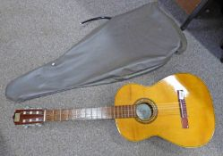 6 STRING ACOUSTIC GUITAR WITH VICENTE SAMCHIS LABEL TO INTERIOR