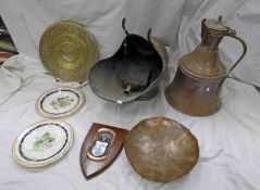 COPPER COAL SCUTTLE AND A COPPER MIDDLE EASTERN BELL SHAPED JUG ETC