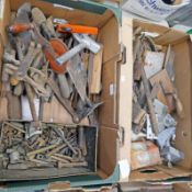 2 BOXES CONTAINING A SELECTION OF TOOLS TO INCLUDE FILES, HAMMERS, HAND DRILL,