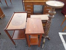 CARVED MAHOGANY PLANT STAND, TROLLEY,