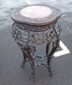 ORIENTAL CARVED HARDWOOD MARBLE TOPPED PLANT STAND - 84CM TALL