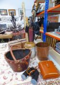 PAIR OF LEATHER CASED 10 X 50 BINOCULARS, LEATHER HOLDALL, LEATHER BUCKET BAG,