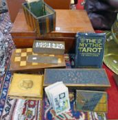 MAHOGANY BOX WITH GAMES BOX, DOMINOES, TAROT CARDS, MAUCHLINE BOX,