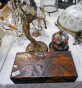 ARTS & CRAFTS BOX WITH DECORATIVE CARVING - 35CM LONG, 2 ARTS & CRAFTS WOODEN BOXES,