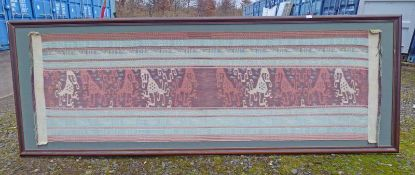MAHOGANY FRAMED TAPESTRY - OVERALL SIZE 278 X 99CM