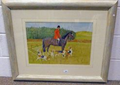 RALSTON GUDGEON, HORSEMAN AND HOUNDS, SIGNED, FRAMED WATERCOLOUR,