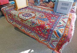 EASTERN RUG - 145 X 102CM Condition Report: One end Hassan age and has come away