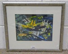 IAN HAMILTON, COQUILLAGE 1 WITH LABEL TO REVERSE, SIGNED, FRAMED MIXED MEDIA PAINTING,