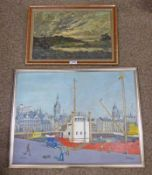FRAMED OIL PAINTING OF HIGHLAND LOCH SCENE & OIL PAINTING OF ABERDEEN WATERFRONT SIGNED OSWALD