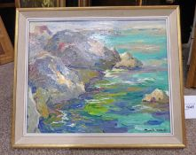 POSSIBLY HAMISH LAWRIE A ROCKY INLET, INDISTINCTLY SIGNED, FRAMED OIL PAINTING,