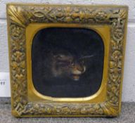 18TH OR 19TH CENTURY GILT FRAMED OIL ON PANEL OF CATS HEAD - 17 X 17CM