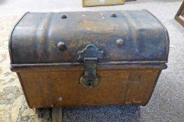 19TH CENTURY METAL STUDDED BOX WITH 2 HANDLES & BRASS LOCK - 37CM LONG