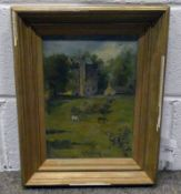 GILT FRAMED OIL PAINTING ON PANEL - INDISTINCTLY SIGNED 32 X 22CM