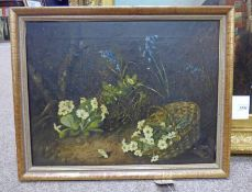 FRAMED OIL PAINTING BLUEBELLS & PRIMROSES - 38 X 49 CMS Condition Report: Some