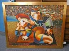 C LOFT, SAILOR WITH GIRL, SIGNED FRAMED OIL PAINTING,