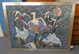 FLYING BIRDS, INDISTINCTLY SIGNED, FRAMED OIL PAINTING,