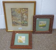 PAIR FRAMED WATERCOLOURS IN CARVED FOLIATE DECORATED FRAMES & A GILT FRAMED WATERCOLOUR OF