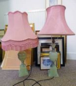 PAIR OF ITALIAN ALABASTER TABLE LAMPS WITH CLASSICAL CARVING DECORATION