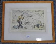 HENRY WILKINSON, FLY FISHING, SIGNED, FRAMED COLOURED ETCHING,