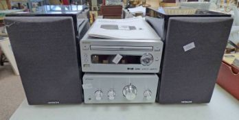HITATCHI MICRO SYSTEM AMPLIFIER AND CD PLAYER & 2 SPEAKERS