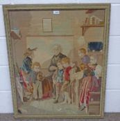 FRAMED SEWNWORK PICTURE OF A 19TH CENTURY FAMILY - 83 CM X 66 CM