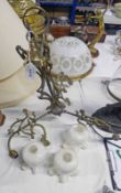 ART NOUVEAU BRASS 3 BRANCH CEILING LIGHT WITH SCROLL DESIGN AND 3 SHADES - 61 CM DROP