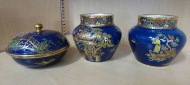 PAIR OF CARLTON WARE CHINOISERIE PATTERN LUSTRE VASES - 10CM TALL AND LIDDED BOWL