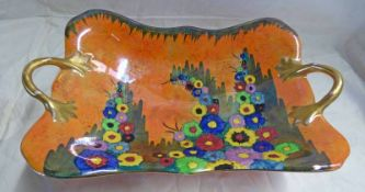CARLTON WARE TWIN-HANDLED DISH WITH FLORAL DECORATION - 31 CM WIDE