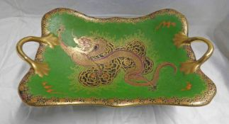 CARLTON WARE TWIN-HANDLED DISH WITH GILT AND DRAGON DECORATION - 30.