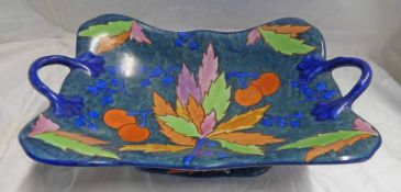 CARLTON WARE TWIN-HANDLED DISH WITH FRUIT & LEAF DECORATION - 31CM WIDE