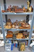 LARGE SELECTION OF WOODEN BOXES, WALL BRACKET, FOOT STOOL, AFRICAN CARVINGS,