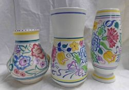 3 POOLE POTTERY JUGS WITH FLORAL DESIGN