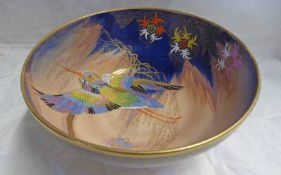 CARLTON WARE GILT & ENAMELLED BOWL DECORATED WITH A HUMMINGBIRD - 20 CM WIDE