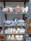 LARGE SELECTION OF VARIOUS 19TH & EARLY 20TH CENTURY DINNERWARE ON 4 SHELVES